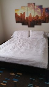 Modern Queen Size Platform Bed, with Mattress, rarely used in Alamogordo, New Mexico