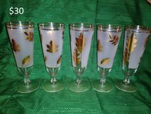 Vintage Frosted Gold Leaf Glassware in Yucca Valley, California