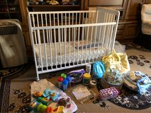 BRAND NEW baby crib  ,mattress w /baby items on picture in Ramstein, Germany