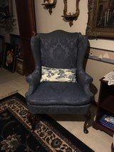 2 Wing Back Queen Anna Chairs Blue & Cream in Fort Leonard Wood, Missouri