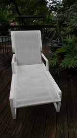 OUTDOOR WHITE FINISHED ALUMINUM FRAMED CHAISE LOUNGE With Mesh Body in Naperville, Illinois