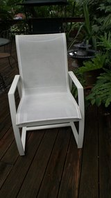 OUTDOOR WHITE FINISHED ALUMINUM ARM CHAIR with Mesh Body in Shorewood, Illinois