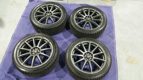 (4) DRG66 Charcoal Gray Wheels & Falken Pro G4 A/S Tires in Cary, North Carolina