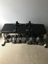 Cast hex dumbbells and bench in Fort Campbell, Kentucky