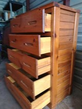 Solid wood tall dresser with 5 huge drawers in good working condition in Fort Bliss, Texas