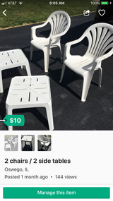 2 chairs with table in Sugar Grove, Illinois