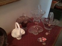 6 GLASS BASKETS  COLLECTION & MISC PCS in Hinesville, Georgia