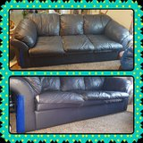 "Dark Blue ""Leather"" Couch, England/Corsair brand in Fort Leonard Wood, Missouri"