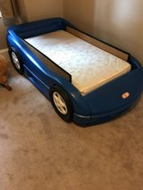Little Tykes Race Car Bed and clean Mattress in Yorkville, Illinois