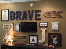 Tribal gallery wall for nursery in Kingwood, Texas