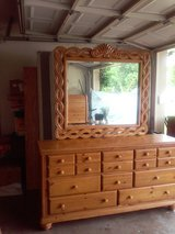 Beautiful Oak Dresser with Mirror and matching King size Oak bed in Arlington, Texas