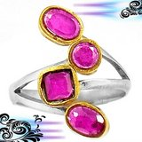 New - Ruby Quartz 925 Sterling Silver Ring - Size 7 1/2 in Alamogordo, New Mexico
