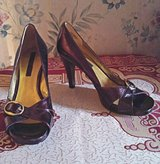 """Worthington"" Dark Plum Patent Leather Heeled Pumps in Fort Bragg, North Carolina"