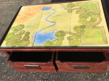 Pottery barn play table with two drawers on rollers. Thomas the tank engine play table in Yorkville, Illinois