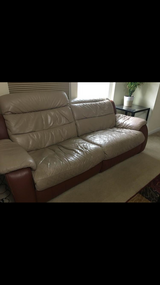3 Seater and a Single Seater Fully Electric Recliner Leather Couches in Aurora, Illinois
