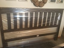 New King Bed Headboard Maple Grey Brown in Orland Park, Illinois