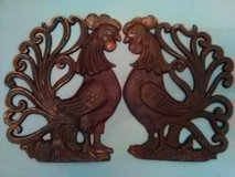 Pair of Vintage Iron Rooster Trivets in Yucca Valley, California