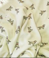 6 Yards Extra Wide Beige Cotton Dog Print Fabric in Fort Bragg, North Carolina