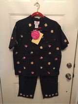 Quacker Factory Stretch Linen Embroidered Zip Front Shirt & Crop Pants Set-Sz L in Kingwood, Texas
