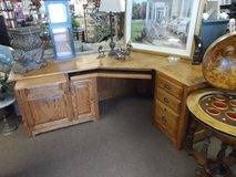 "LARGE SOLID OAK DESK 80"" WIDE 23"" DEEP WITH L THAT IS 56"" in Cherry Point, North Carolina"