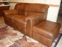 FULL LEATHER Brown LOVE SEAT AND MATCHING OTTOMAN in Yorkville, Illinois
