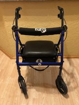 Hugo Portable Rollator Walker with Seat, Backrest and 8 Inch Wheels, Blue in Lockport, Illinois