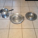 Metal tray, chafing dish, plate w/ bowl... Hammered finish in Lockport, Illinois