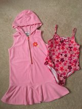 Girls Swim Suit SIZE 5T & Swim Coverup SIZE 6X in Chicago, Illinois