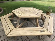Wooden Hexagon Picnic Table in Palatine, Illinois