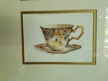 3 teacups picture matted and framed in Westmont, Illinois