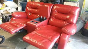 Leather Recliner Love Seat with Console in 29 Palms, California