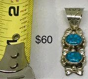Navajo signed sterling silver turquoise pendant in 29 Palms, California