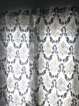 Black and grey filigree white curtains-4 panels in Pleasant View, Tennessee