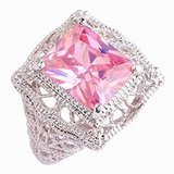 TODAY**Solitaire 925 Sterling Silver Gorgeous*13mm Emerald Cut Pink Ring***BRAND NEW in Cleveland, Texas