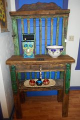 Rustic stand hand crafted and hand painted in Alamogordo, New Mexico