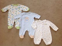 Lot of 3 Baby Cotton Sleepers, Pajamas, Carter's and Little Me Brands, size 3 months in Chicago, Illinois