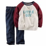 NEW Carter's Baby Boys 2-Piece Set: Sweatshirt & Blue Denim Pants, size 9 Months in Palatine, Illinois