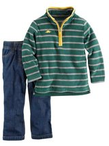 New Carter's Baby Toddler Boys Green Fleece Jacket & Pants 2-Piece Set, Outfit, size 18 months in Palatine, Illinois