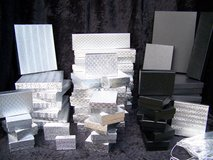 Jewelry Gift Display Boxes, Lot sale of 54 Asst Sizes, Plus 24 Silver Bow Cords in Alamogordo, New Mexico