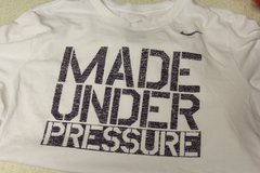 Nike Made Under Pressure Men's Large White Dri Fit Graphic Casual Tee T-Shirt in Kingwood, Texas