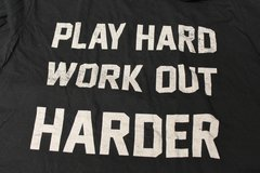 Play Hard Work Out Harder Black Men's Large Graphic Casual Tee T-Shirt Distressed Faded Design W... in Kingwood, Texas