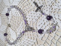 Auto Rosary Crystal and Lavender Beads Clasp Italian Silver Medal Crucifix in Kingwood, Texas