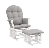 Windsor Glider and Ottoman, White with Gray Cushion in Lancaster, Pennsylvania