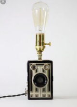 Lamp: Vintage Camera, Edison Bulb Lamp in Aurora, Illinois