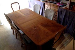 Oak Dining Table and Six Chairs in Roseville, California