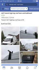 transit mk7 roof bars and bulkhead in Lakenheath, UK