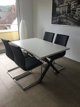 Dining Room Table with 4 Matching Leather Chairs in Spangdahlem, Germany