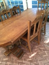 fantastic big vintage  solid wood dinning table 6 chairs from France in Ramstein, Germany