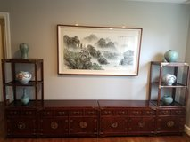 Korean Asian 4-Piece Furniture With Framed Silk Painting and 6 Pottery in Richmond, Virginia