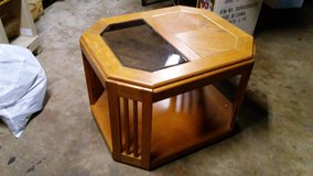 Solid wood table with glass insert in Joliet, Illinois